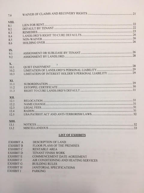 commercial lease table of contents