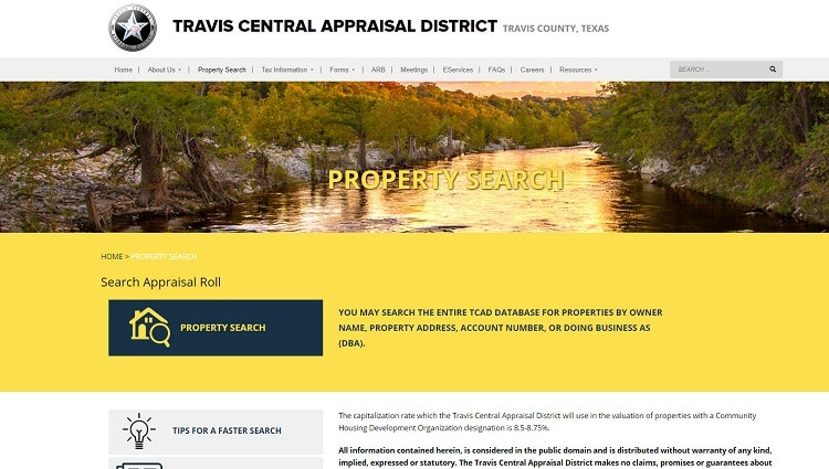 property search travis CAD